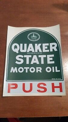 """Quaker State Motor Oil PUSH Door Decal 7 ½"""" X 6"""" Vintage Advertising Collectible"""