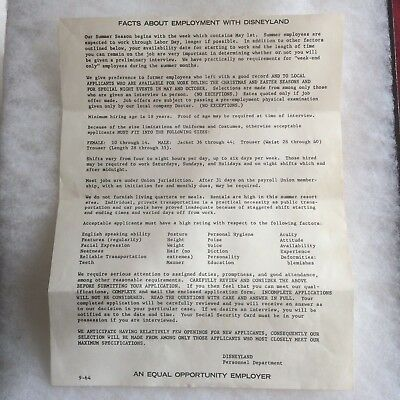 Vintage 1964 Facts About Employment With Disneyland Document