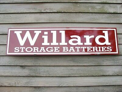 "WILLARD BATTERY VINTAGE 1930's HORIZ. STYLE 1'X46"" METAL DEALER SIGN-GARAGE ART"