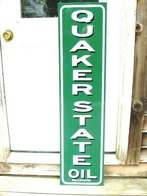 "Quaker State Oil Vintage C.1930's-40's Vintage Style 3 Color 1'x46"" Metal Sign"
