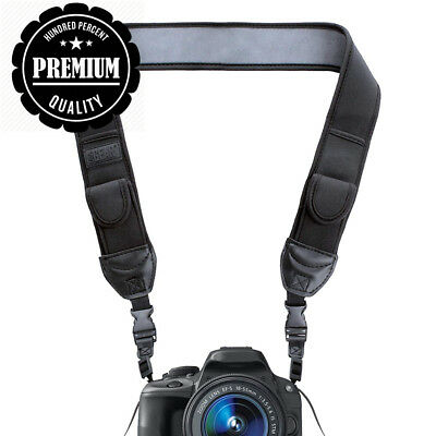 DSLR Camera Neck Strap with Black Neoprene Design and Quick Release Buckles...