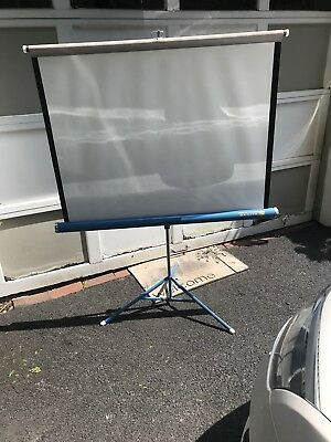 "Vintage Da-Lite Silver Flyer Portable Film Projection Screen 40""X40"" New In Box"