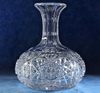 """Antique ABP Crystal Cut Glass 7.5"""" Water Decanter Bottle- Beautiful!"""