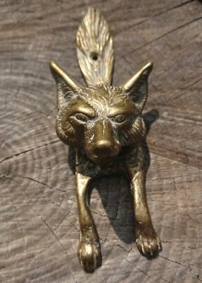 "Antique Heavy Solid Brass Bronze Fox  Doorknocker Door Knocker 6.2"" Tall"