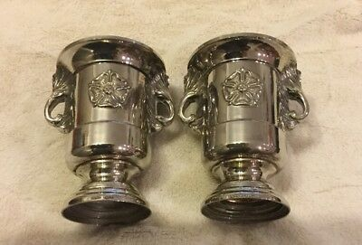 Pretty Pair Of Silver Antique Vases Grenadier England