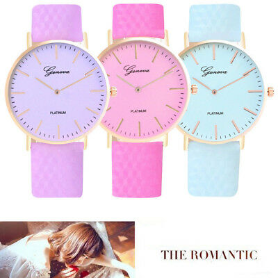 Casual Candy Color Wrist Watch for Women Girl Teen Leather Strap Round Case Gift