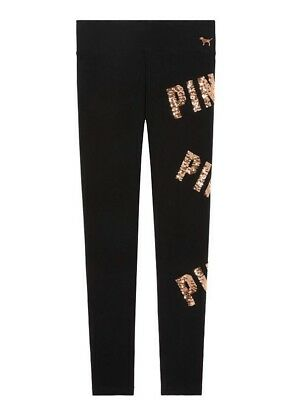 3b39c44da39ca3 New Victorias Secret PINK BLING Legging Yoga Pant Black ROSE GOLD Sequin- S