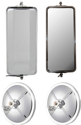 """Set of Stainless Steel West Coast Mirrors and 8.5"""" Convex Truck Mirrors"""