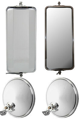 """Set of SS West Coast Heated Mirrors and 8.5"""" Chrome Offset Convex Mirrors"""