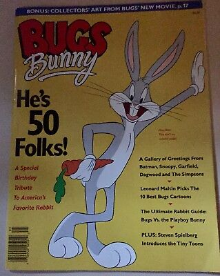 """1990 Bugs Bunny """"He's 50"""" Special Tribute Magazine w/ Collectors' Art Excellent"""