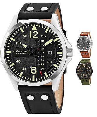 Stuhrling 699 Mens Japan Quartz Luminous Pilot Watch With Genuine Leather Strap