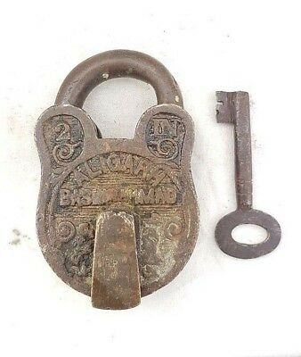 Rare Vintage 1940's Old Antique Line & Bird Engraved Brass Handcrafted Pad Lock