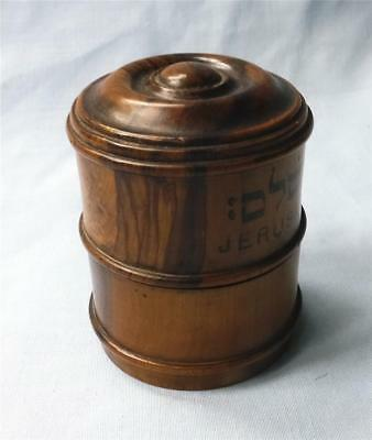 ANTIQUE TREEN OLIVEWOOD TRAVELLING INKWELL- marked JERUSALEM and also in HEBREW