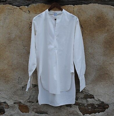 """Antique French Men's Fine White Cotton Evening Dress Formal Day Shirt 48"""" Chest"""