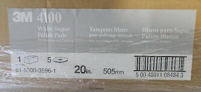 "3M Super Polish Floor Pad 4100, 20"" Diameter, White, 5/Carton"
