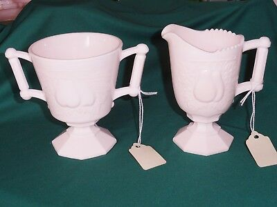 Vintage Jeannette Depression  Baltimore Pear Shell Pink Milk Glass Cream & Sugar