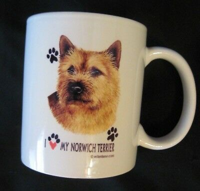 I Love My NORWICH TERRIER Ceramic Coffee Mug Rare Design  EDENLANE.COM EUC