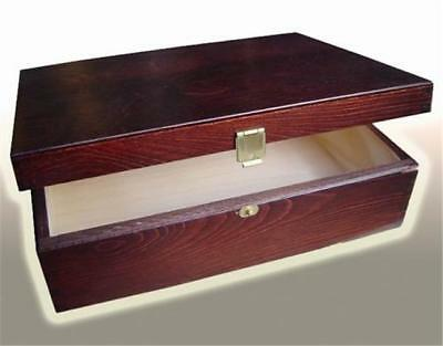 P21b LACQUERED BROWN WOOD - WOODEN TRINKET BOX GIFT varnished wood