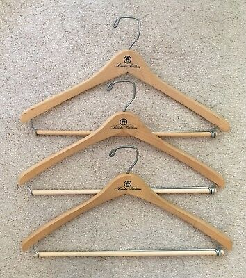3 Vintage Sturdy Brooks Brothers Wooden Hangers