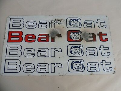 RARE Vintage 2-sided Bear Cat Metal Sign Arctic Snowmobile Scanners Motorcycle