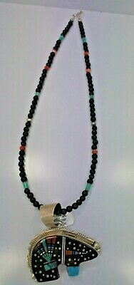 Navajo Native American Turquoise Jet Inlay Bear Pendant Necklace