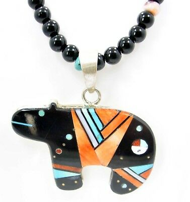 Navajo Native American Necklace Pendant Multistone Inlay Bear Sterling G Smith