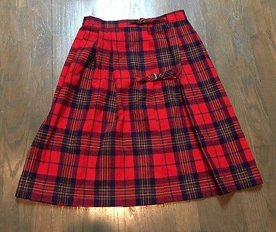Vtg IZOD Lacoste Red TARTAN PLAID+CHECK Gold Buckle KILT School Girl Skirt 24""