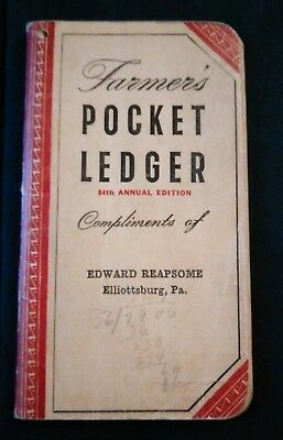 Old vintage 1950-1951 Farmer's Pocket Ledger John Deere dealer Elliottsburg PA