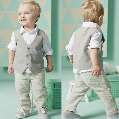 3PCS Kids Toddler Baby Boys Shirt Tops+Vest+Long Pants Gentleman Outfits Clothes
