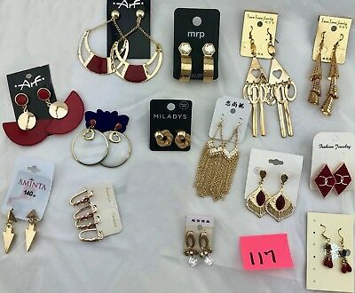 Lot of 15 New Pairs Earrings Of Modern Vintage Mix - Gold Dangle & Hoops