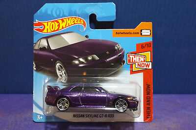 2018 Hot Wheels NISSAN SKYLINE GT-R R33 in PURPLE, HW Then & Now 6/10 Short Card