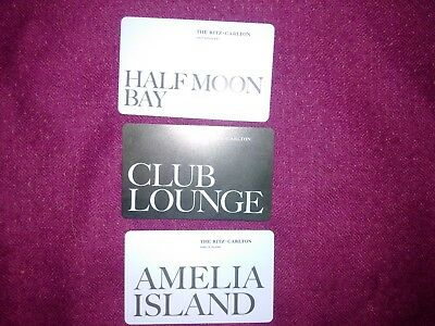 3 Ritz Carlton Club Lounge Hotel Room Key Card Collectors-Half Moon Bay Amelia