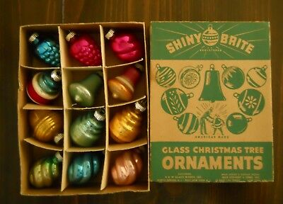 Vintage Shiny Brite Glass Christmas Ornaments 1 Dozen Good Condition With Box