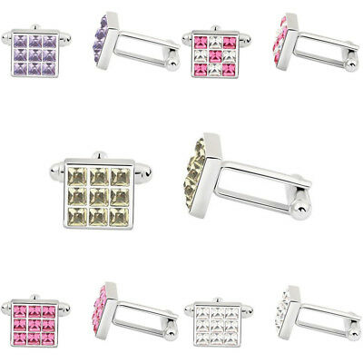 Silver Fashion Crystal Lattice Mens Wedding Shirt Cuff Links Square Cufflinks
