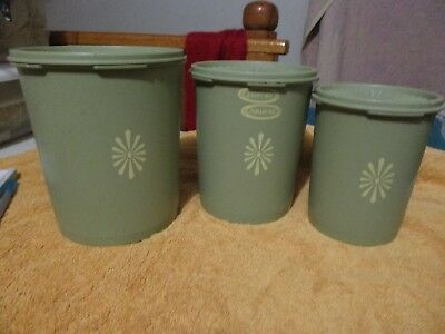 3 Piece Avocado Green Vintage Tupperware Canisters Stackable