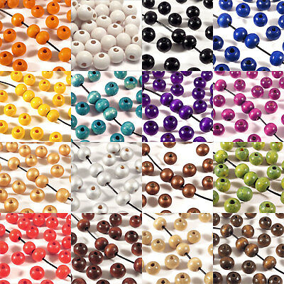 Lot of 100 Beads wooden 0 5/16in jewelry Finish French Several colors