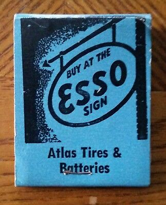 Esso*atlas Tires & Batteries Match Book*advertising Collectable*ships Free