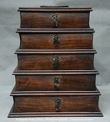 """11"""" Rare Old Chinese Huanghuali Wood Hand Carved Five-story Jewel case or Box"""