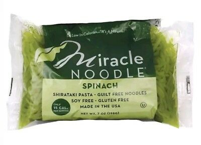 Miracle Noodle Shirataki Spinach Angel Hair 7 oz Soy Free Gluten Free USA Made