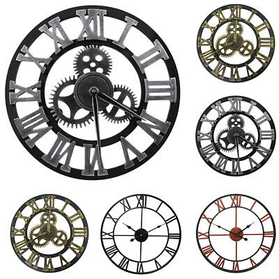 3D Gear Large Wall Clock Vintage Retro Roman Numerals Silent Sweep Non-ticking
