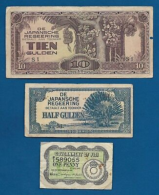 Netherlands Indies Japan Occ 10 Gulden + 1/2 G, Fiji Penny 1942 P-47 WW2 PTO Lot