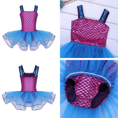 New Girls Kids Mermaid Ballet Tutu Dress Dance Gymnastics Leotard Dancewear