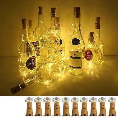 20 LED Cork Shaped String Fairy Night Light Wine Bottle Lamp Copper Party Decor