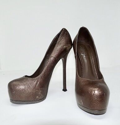 d28bb75fac3 Ysl Yves Saint Laurent Tribute Too 105 Bronze Leather Platform Pump Shoes  39.5