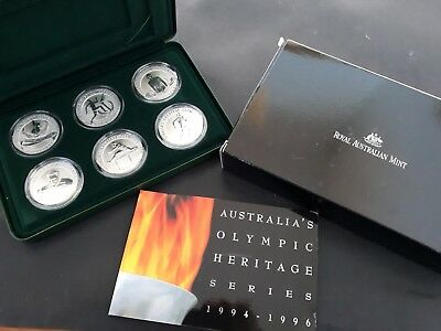 1994-96 Australia Olympic Heritage 6 x $10.00 Silver (99.9%) Coin Set