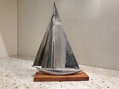 ART DECO CHROME SAILING BOAT / YACHT on WOODEN STAND
