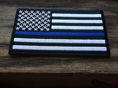 Thin Blue Line On Subdued American Flag Patch