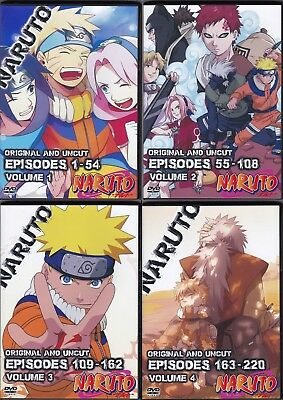 NARUTO EPISODES 1-220 Complete Series on 24 DVDs English and Japanese 4  Seasons