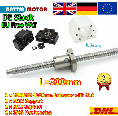 【EU Stock】Ballscrew SFU1605-300mm c7 with Nut & BK/BF12 Support for CNC Router