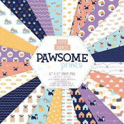 Dovecraft 'Paper Addicts' Card Craft Paper Pad - Pawsome Prints - 12x12""